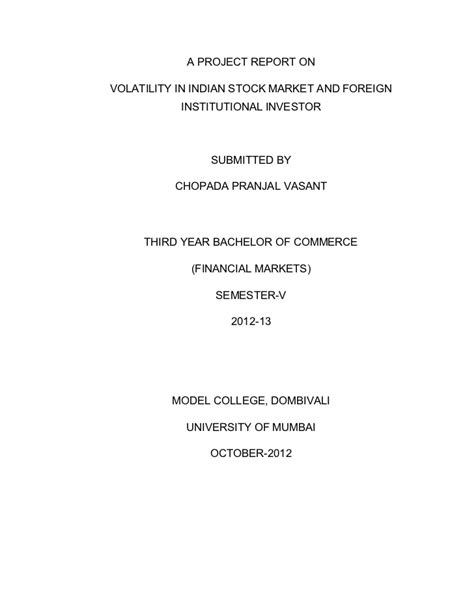 Project Report Format For Mba Finance by Research Project Report On Stock Market For Mba Topics