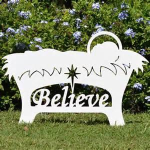 Believe holy family outdoor nativity set manger