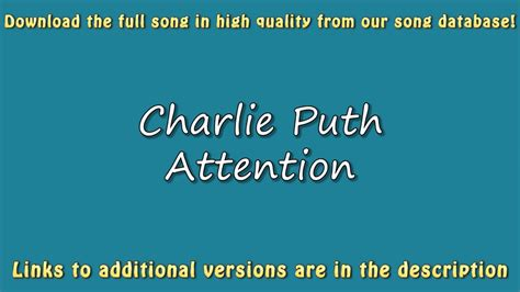 charlie puth attention lyrics charlie puth attention karaoke version lyrics youtube
