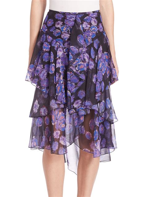 Ruffled Chiffon Skirt jason wu ruffled floral chiffon skirt in blue lyst
