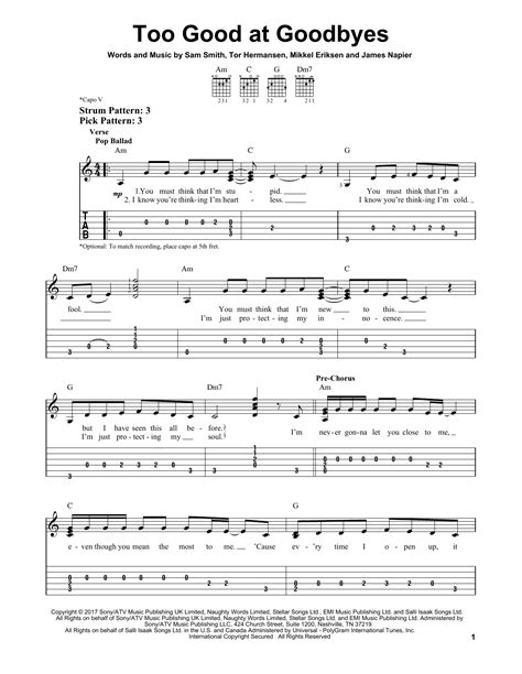 download mp3 free too good at goodbyes too good at goodbyes by sam smith easy guitar tab
