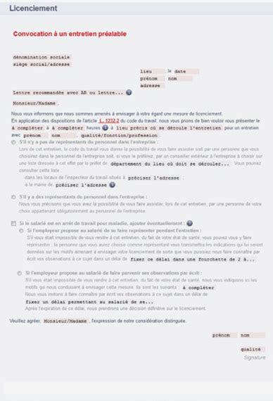 Modèles De Lettre De Licenciement Pour Insuffisance Professionnelle e proc 233 dures de licenciement 201 ditions l 233 gislatives