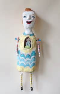 Paper Mache Doll - home mixed media paper mache doll sculpture with a