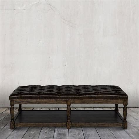 genuine leather tufted rectangle cocktail ottoman