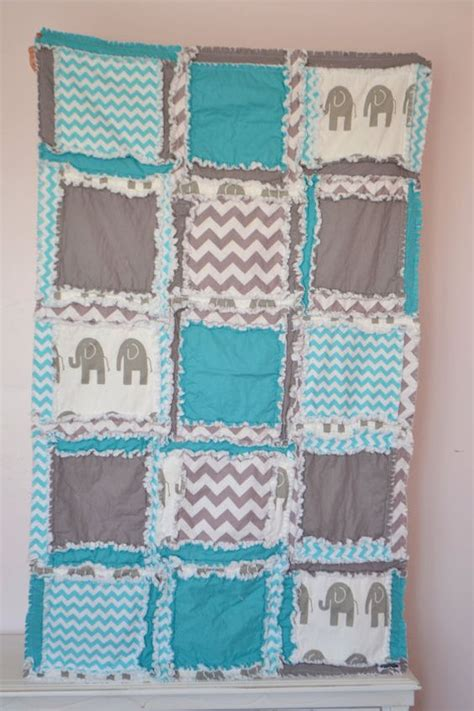 Crib Size Rag Quilt Pattern by Elephant Rag Quilt Boy Crib Blanket Turquoise Quilt