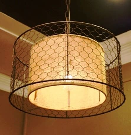 Chicken Wire Pendant Light Trendy Pendant Light With Burlap And Chicken Wire Syle Framing