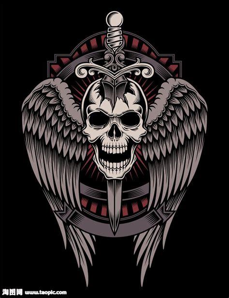 宝剑翅膀骷髅矢量图片 图片id 594602 流行元素 底纹边框 矢量素材 淘图网 taopic com