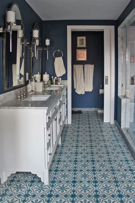 bathroom tiles blue and white 36 blue and white bathroom floor tile ideas and pictures