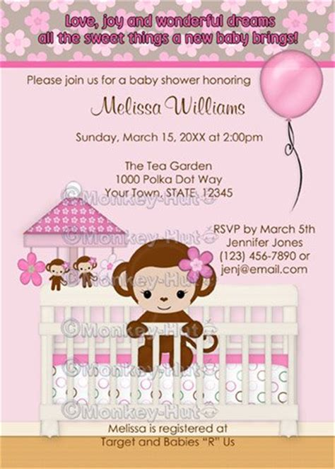 printable monkey baby shower invitations sweet monkey baby shower invitation sm k pink digital