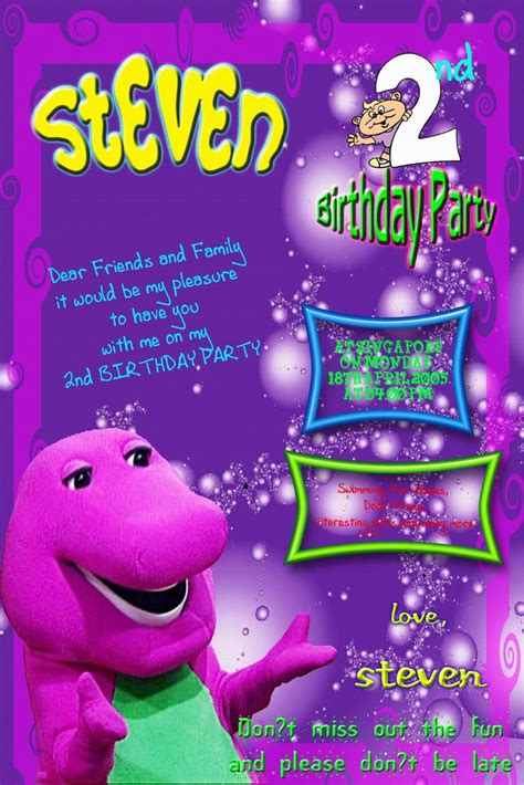 barney and friends birthday invitations barney party