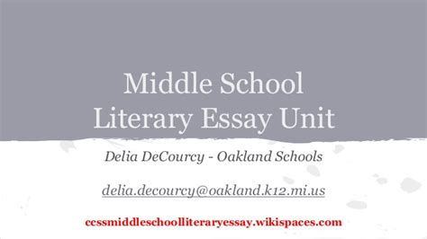 Literary Analysis Essay Exles Middle School by Middle School Literary Essay