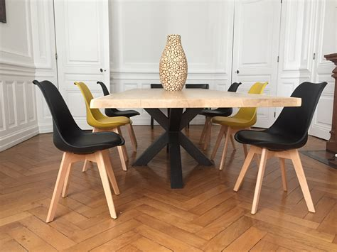pied de table fer table bois m 233 tal pied central design industriel
