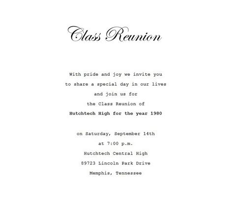 Class Reunion Invitation 4 Wording Free Geographics Word Templates Class Reunion Invitation Template