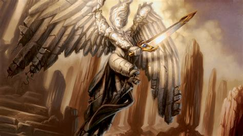 fantasy magic the gathering dark gothic angel wings sword