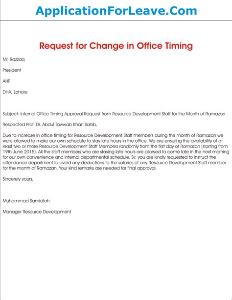 Payment Request Letter To Office Request Letter For Approval Of Change In Office Timing