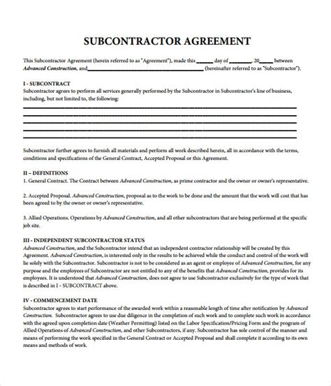 Agreement Templates 31 Free Word Pdf Documents Download Subcontractor Contract Template