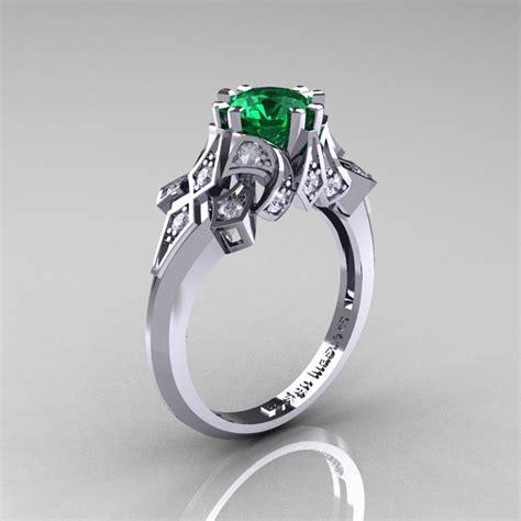 edwardian 14k white gold 1 0 ct emerald engagement