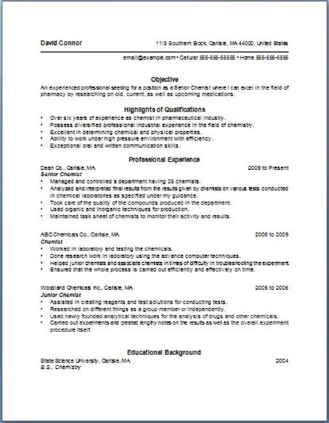 Resume Exles Without Bullet Points Bullet Point Resume Template Of The Most Important Tips For Writing Chemist Resume Are As