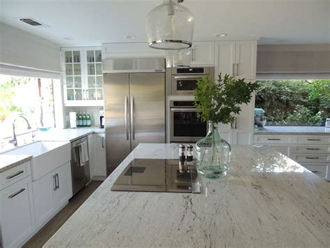 river white granite transitional kitchen  sarah designs