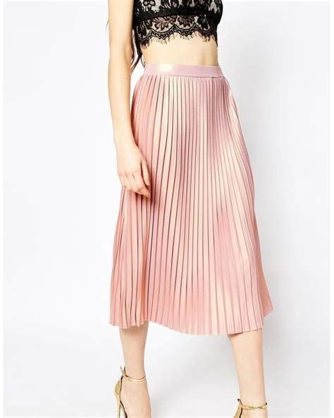 asos pleated midi skirt with metallic foil in pink blush