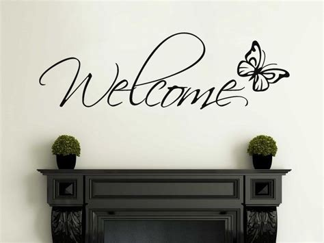 welcome wall sticker welcome wall with butterfly wall sticker decal vinyl stickertransfer