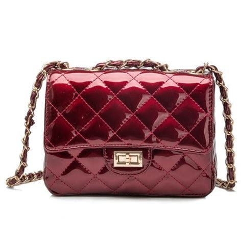 Fashion Bag Jh2036 Colour Wine fashion chain and checked design solid color crossbody bag