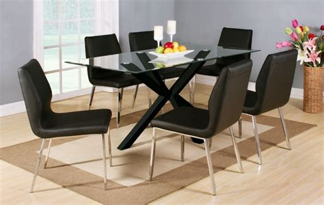 Glass Dining Sets 6 Chairs Clear Glass Black High Gloss Dining Table And 6 Chairs Homegenies