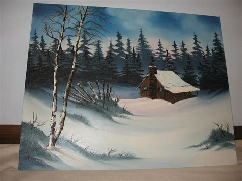 bob ross painting log cabins winter cabin by twinket on deviantart