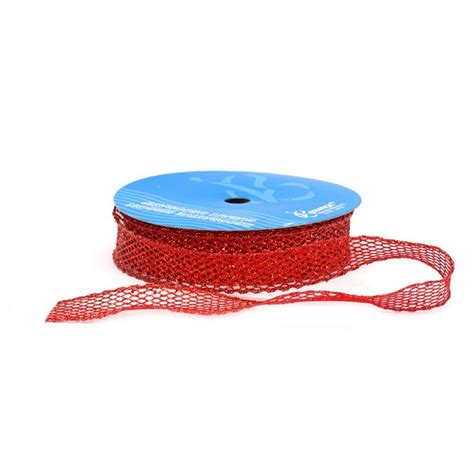 red wired laced up ribbon 1 1 2 quot wide