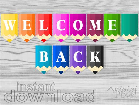 printable classroom banner welcome back printable banner pencils classroom pennants back