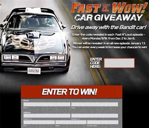 Wows Giveaway - discovery channel fast n wow car giveaway fast n loud sweepstakes sweeps maniac
