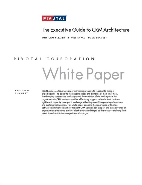 the clarity papers the executive s guide to clear thinking and better faster results books the executive guide to crm architecture free white paper
