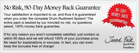 Sle Letter Money Back Guarantee Guarantee Drum Rudiment System