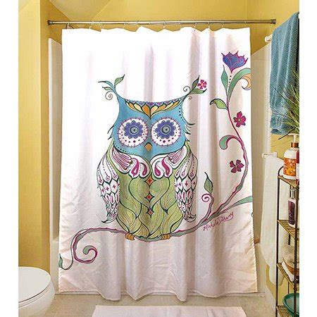 owl shower curtain thumbprintz owl branch shower curtain 71 quot x 74 quot walmart