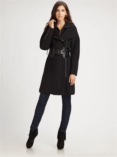 Elie Taharis Black Brushed Wool Patent Belt Coat Inspired By Poshs Fashion by Leather Wool Coat Jacketin