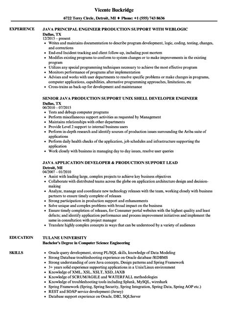 Java Production Support Sle Resume by Java Production Support Resume Sles Velvet