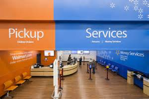 Pickup up front in store pickup and walmart services share space up