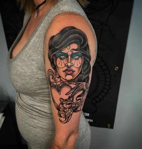 neo traditional lady head tattoo inkstylemag