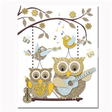 Piyama Wanita Owl Family Yellow shop toddler room decor on wanelo