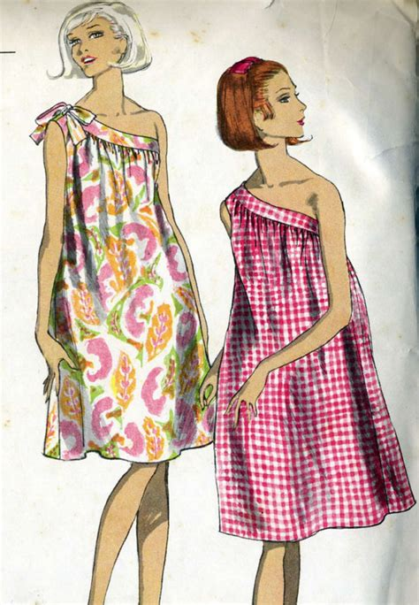 dress pattern nightdress vintage 60s vogue 6733 misses cute one shoulder nightgown or