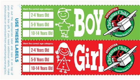 Operation Christmas Child Love In A Shoebox Shoe Box Label Template