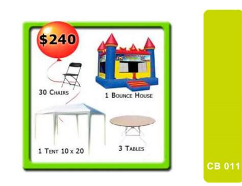 bounce house and table rentals bounce house tent tables and chairs miami rentals