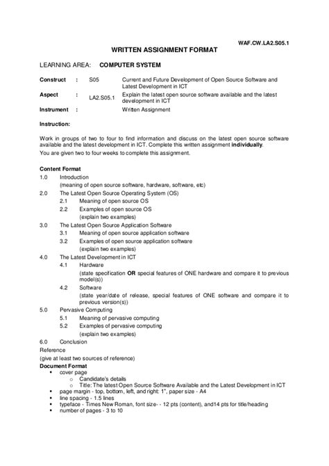 format assignments university written assignment format la 2 0 computer system
