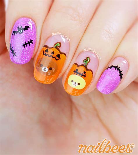 super cute brown bear pattern fake nails japanese pure halloween rilakkuma nail art nailbees