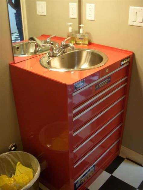 bathroom in garage metal tool box turned sink man cave pinterest