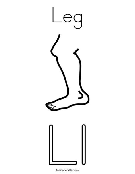 With Leg L by Leg Coloring Page Twisty Noodle
