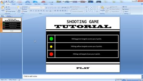 tutorial excel powerpoint powerpoint tutorial vba how to make a shooting game