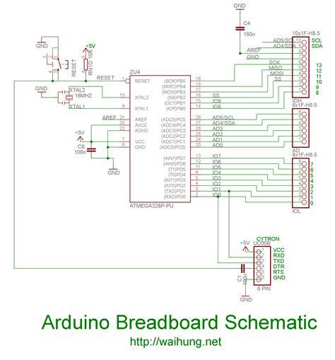 breadboard circuit schematic your own arduino part 2 arduino on breadboard