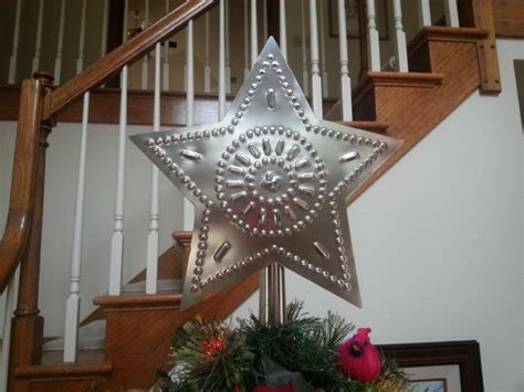 star tree topper large silver metal tin 12 inch country
