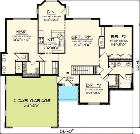 2 Bedroom Rambler Plans 3 Bedroom Hill Country Rambler 89815ah 1st Floor
